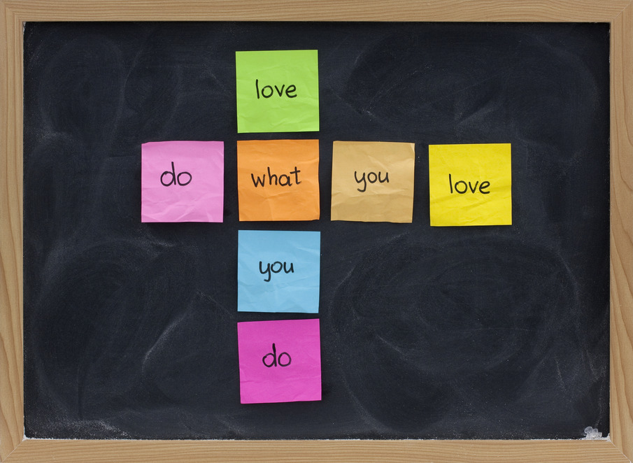do what you love concept on blackboard
