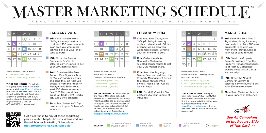 Master Marketing Schedule for REALTORS 1st Quarter 2014