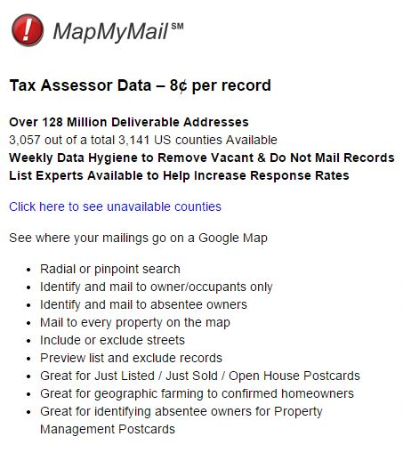 map my mail data