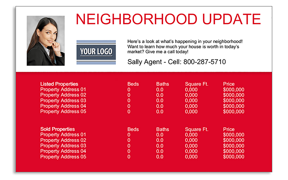 Realtor marketing postcards for neighborhood updates