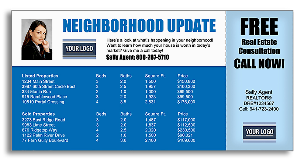 Realtor marketing postcards for neighborhood updates with a free offer